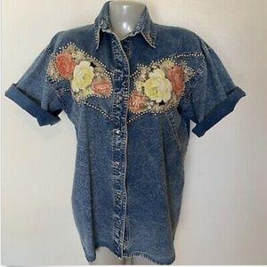 Vintage Denim Floral Top Size small Button Front